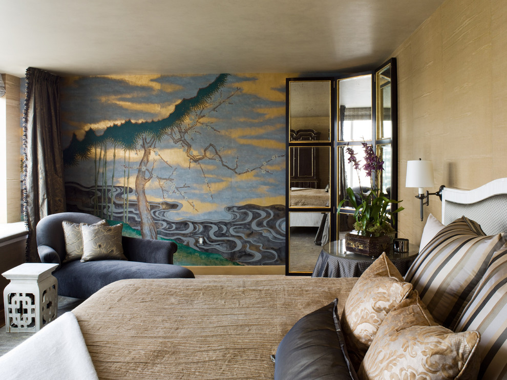 Example of an eclectic bedroom design in San Francisco with multicolored walls