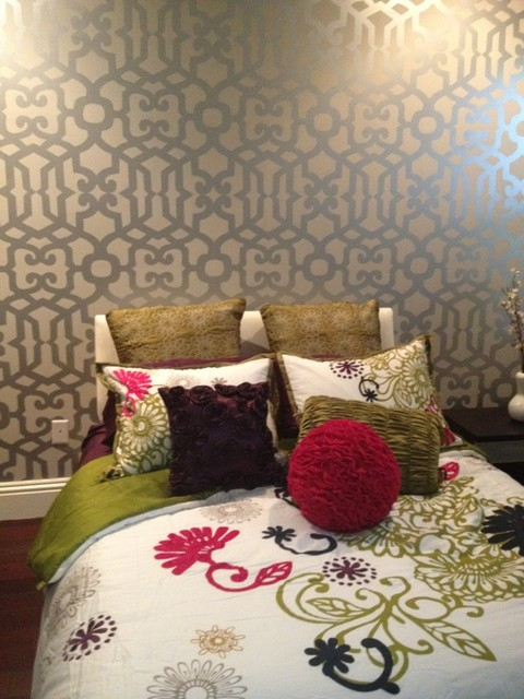 Stenciling eclectic bedroom