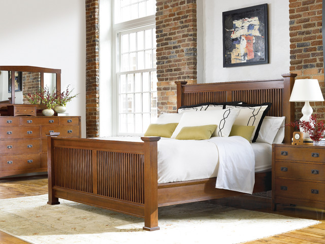 Stickley prairie bed for Arts and crafts bed plans