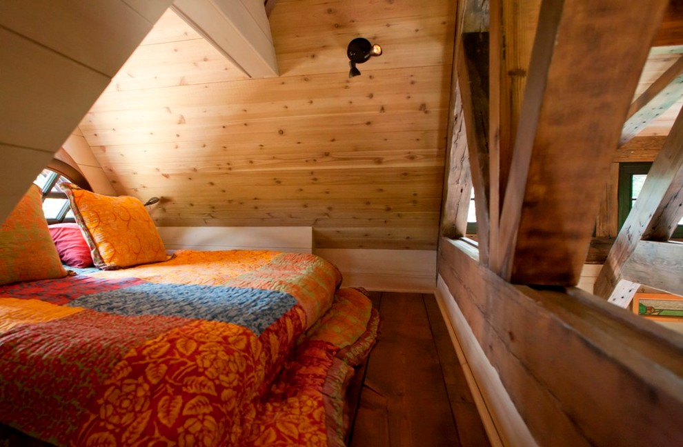 Inspiration for a small rustic loft-style medium tone wood floor bedroom remodel in Denver