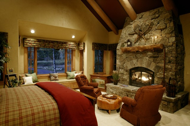 Storm mountain ranch house rustic bedroom denver by paddle creek design Traditional rustic master bedroom