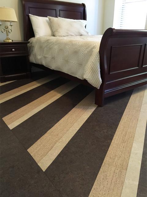Striped bedroom cork floor contemporary bedroom new for Cork flooring in bedroom