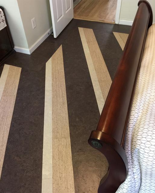 Striped Bedroom Cork Floor Contemporary Bedroom New