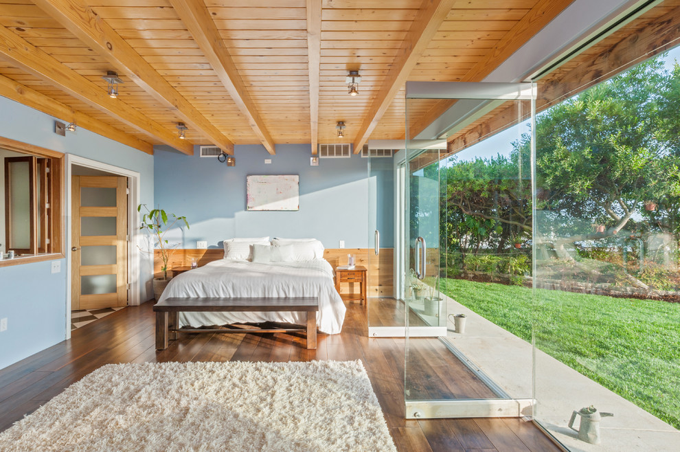 Inspiration for a mid-sized 1960s master medium tone wood floor bedroom remodel in Los Angeles with blue walls and no fireplace