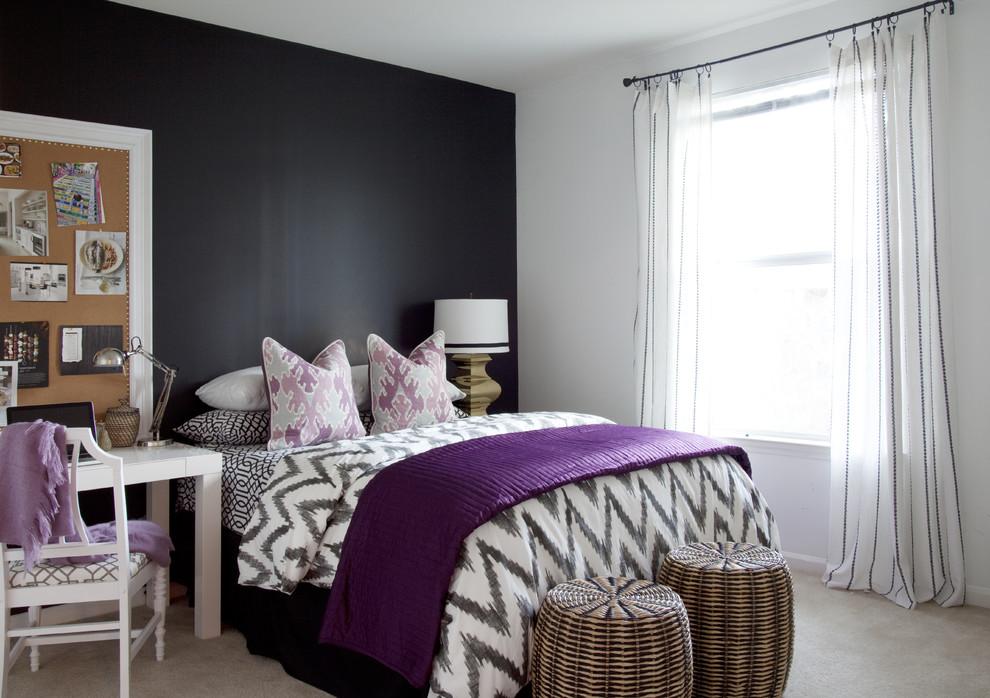 Eclectic bedroom photo in Atlanta with black walls