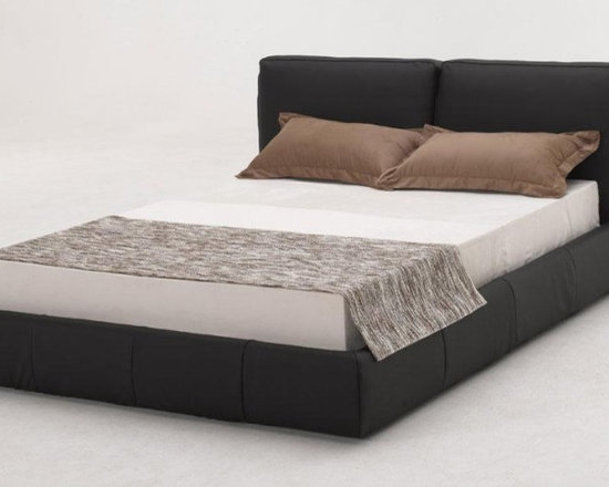 Stylish Black Full Leather Bed - Features: