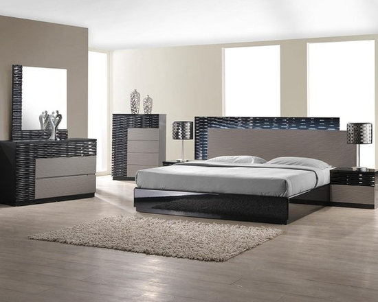 Stylish Eye-Catching Bedroom Set with Black and Gray Lacquer Finish - Modern Platform bed with black and gray lacquer finish comes in an amazing design with LED lighting system on the headboard that can be controlled with a switch. This inspiring design is sure to give uniqueness to your bedroom, along with a modern vibe.