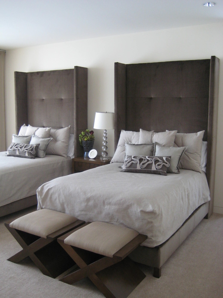 Inspiration for a transitional carpeted and gray floor bedroom remodel in Minneapolis with white walls
