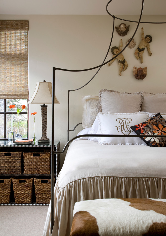 Trendy carpeted bedroom photo in Denver with beige walls