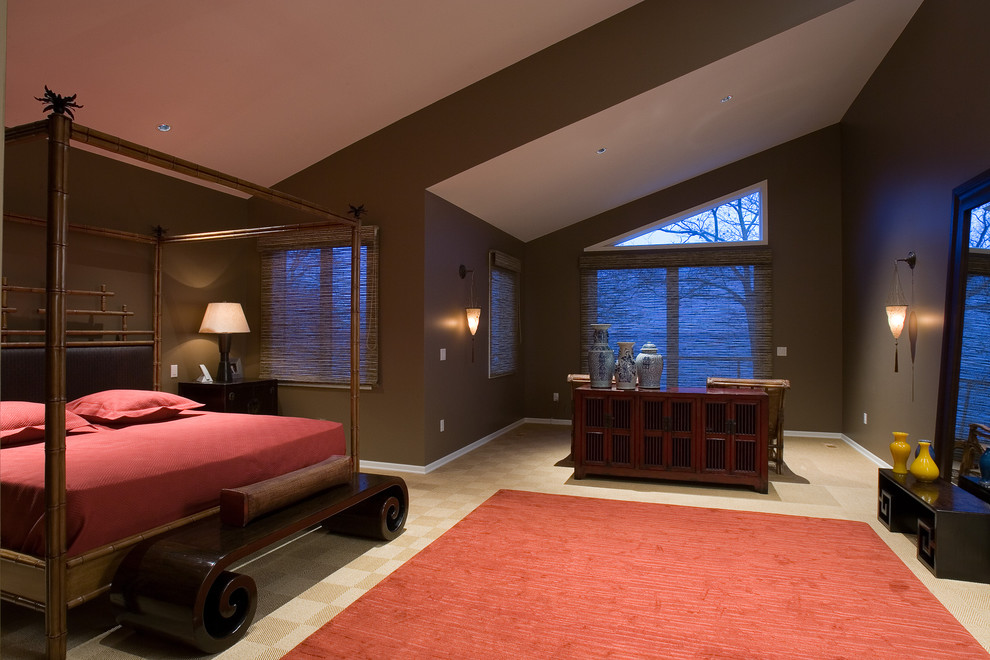 Inspiration for a zen master carpeted bedroom remodel in Chicago with brown walls