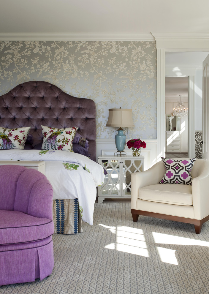 Elegant bedroom photo in Boston with gray walls