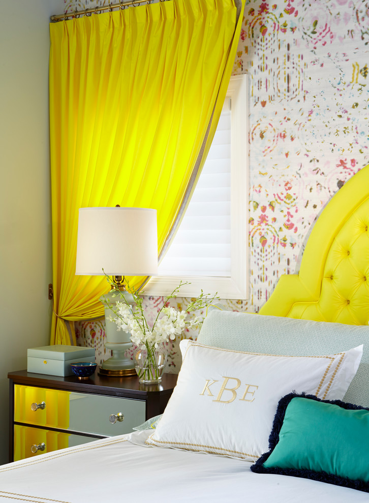 Mid-sized trendy master bedroom photo in Chicago with multicolored walls