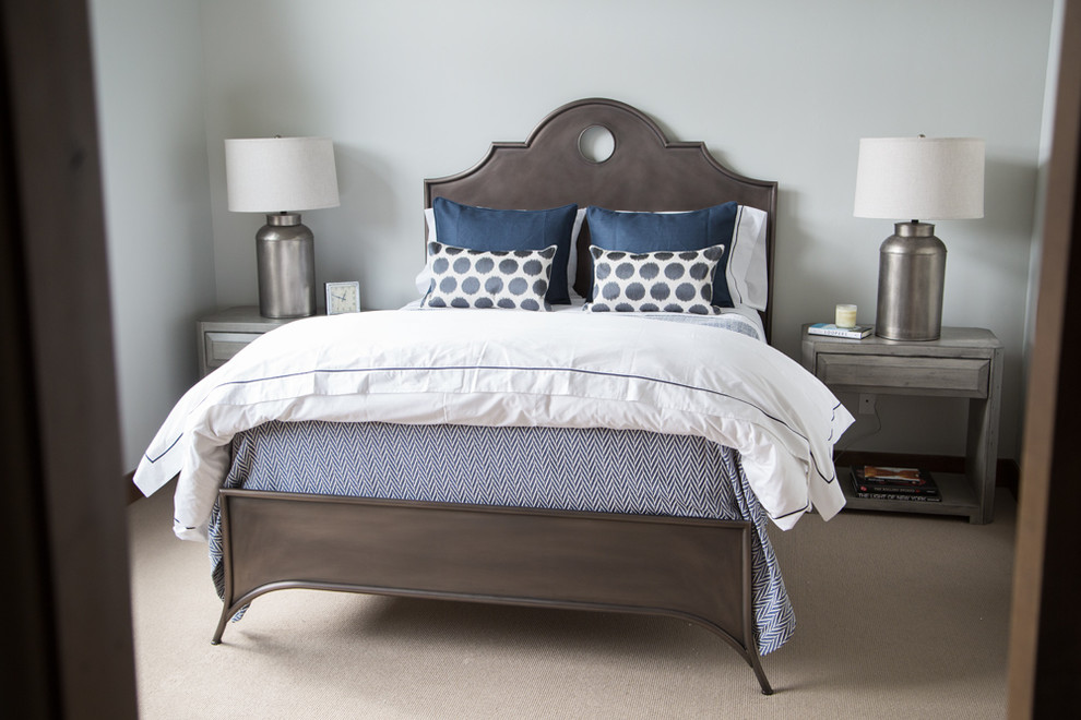 Bedroom - transitional carpeted and beige floor bedroom idea in Boise with gray walls