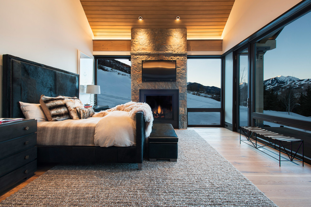 Example of a huge trendy master light wood floor and brown floor bedroom design in Denver with a standard fireplace, a stone fireplace and beige walls