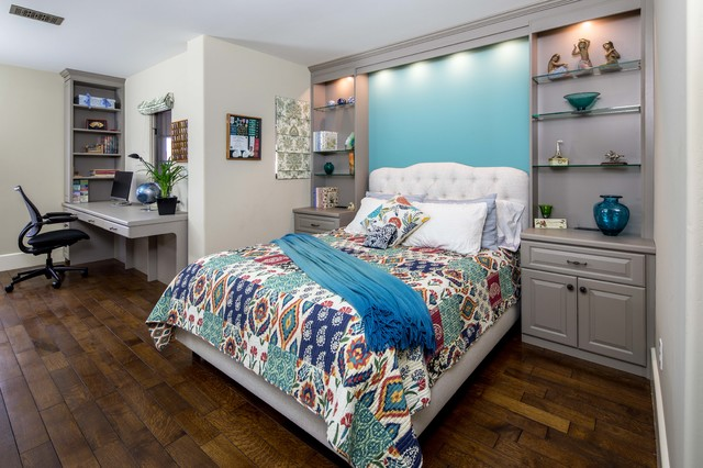 Super Matte Thermally Fused Laminate Bedroom with Desk transitional ...