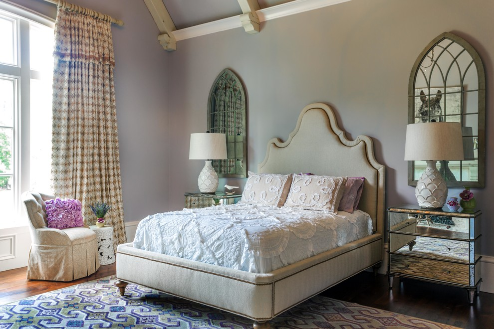 Example of a large cottage chic guest dark wood floor bedroom design in Atlanta with gray walls