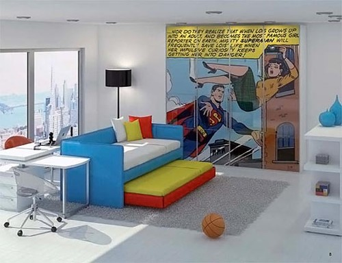 Colorful comic pages can add a tasteful pop to rooms