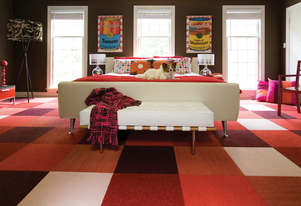 Bedroom - contemporary carpeted and red floor bedroom idea in DC Metro with brown walls