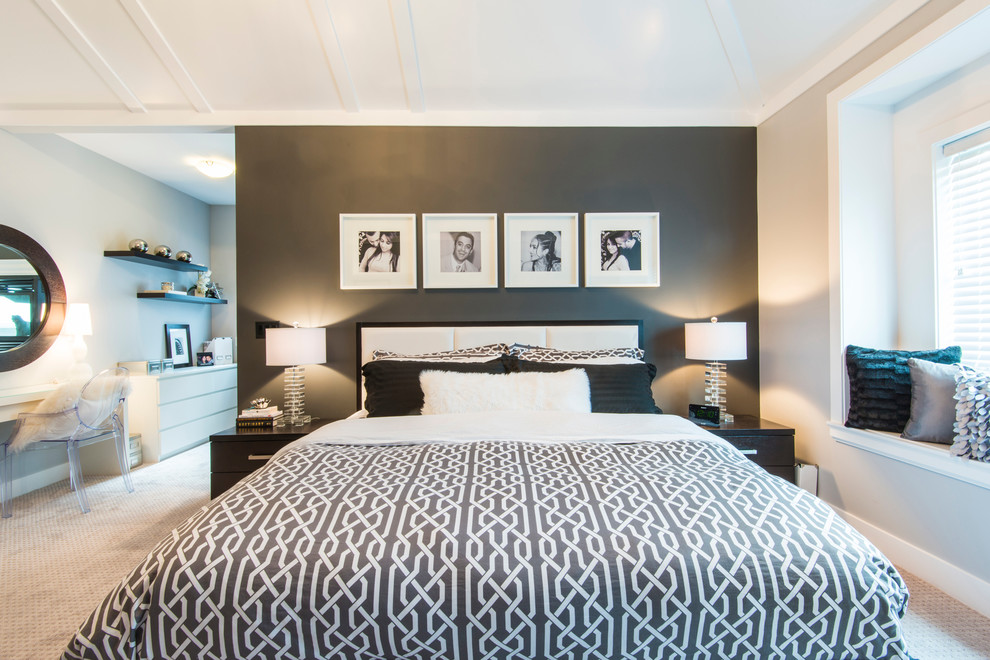 Example of a trendy bedroom design in Vancouver with gray walls