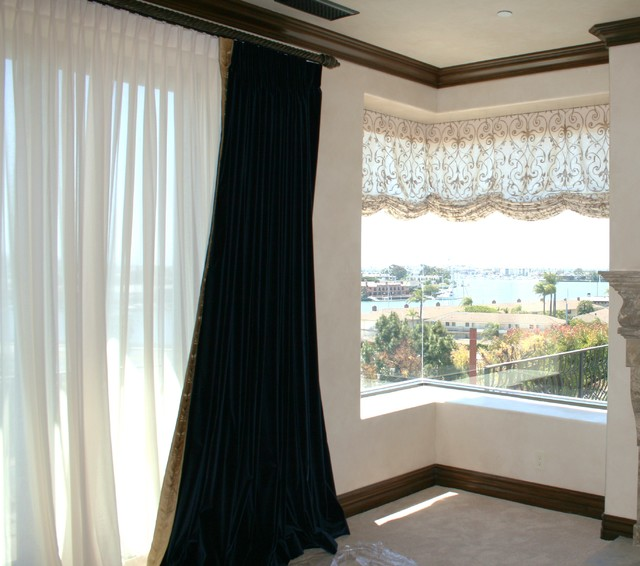 Swag Shade with Hand Painted Linen traditional-bedroom