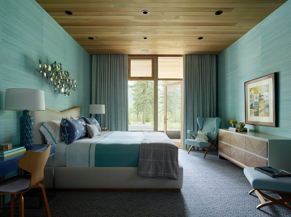Inspiration for a contemporary carpeted and multicolored floor bedroom remodel in San Francisco with green walls and no fireplace