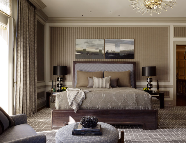 Charming Light Brown Bedroom Ideas Part - 8: Trendy Carpeted And Brown Floor Bedroom Photo In San Francisco With  Multicolored Walls