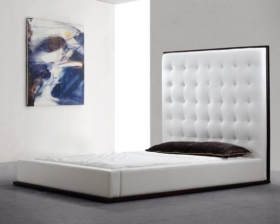 Tall Headboard Platform Eco-Leather Bed - Features: