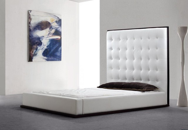 Tall Headboard Platform Eco Leather Bed Contemporary Bedroom