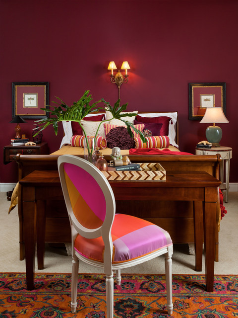 Burgundy and gold guest bedroom suite traditional for Burgundy and gold bedroom designs