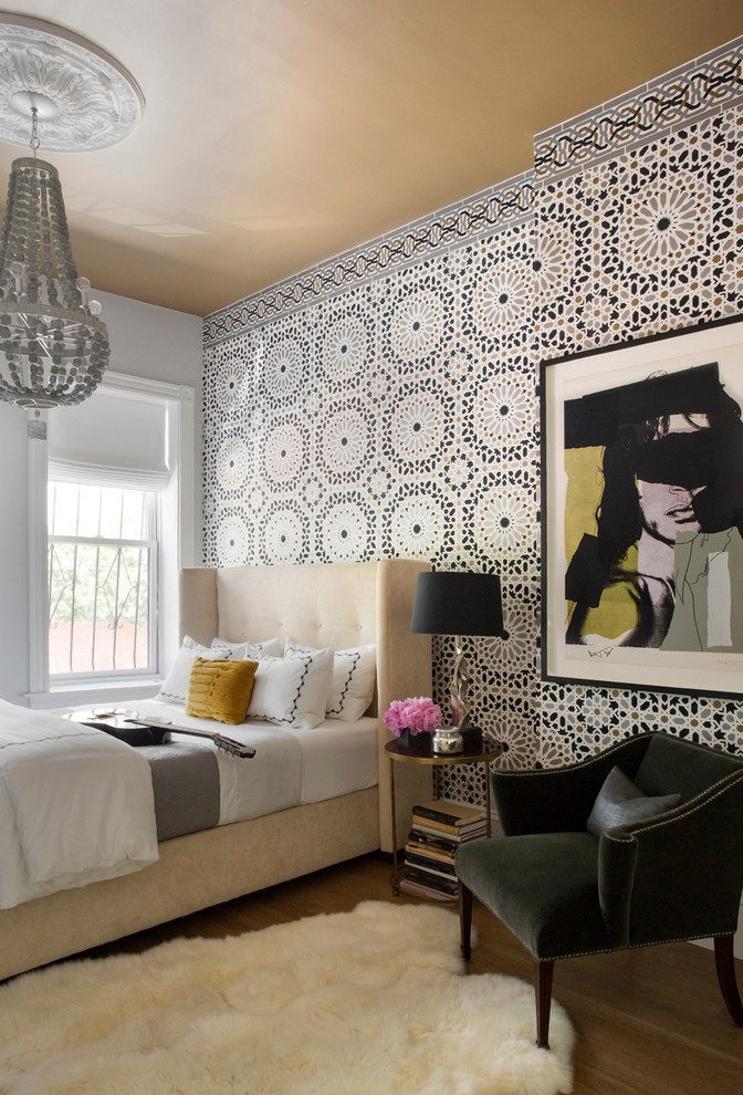 Example of a large transitional dark wood floor bedroom design in Boston with multicolored walls