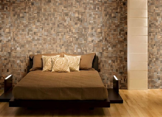Teak tiles mosaic wood tiles traditional bedroom for Bedroom designs tiles