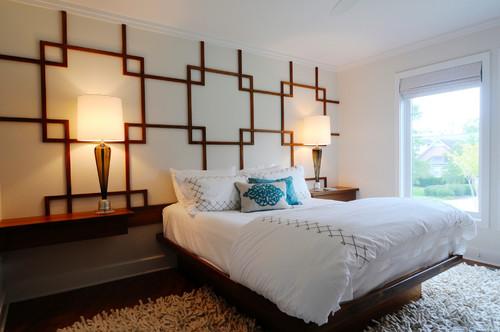 Teak Wall Pattern and Platform Bed
