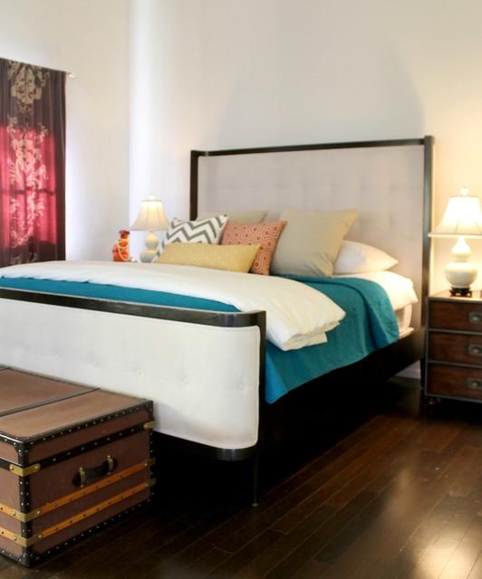 teal white purple and orange in hollywood regency style bedroom
