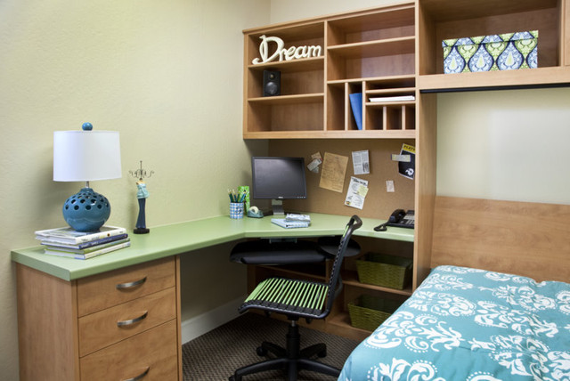 Teen desk side tilt wall bed contemporary bedroom san francisco by valet custom - Beds with desks attached ...