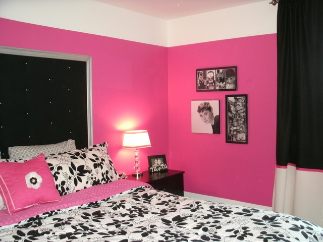Dramatic hot pink black white teen bedroom contemporary bedroom boston by lily max - Hot pink room ideas ...