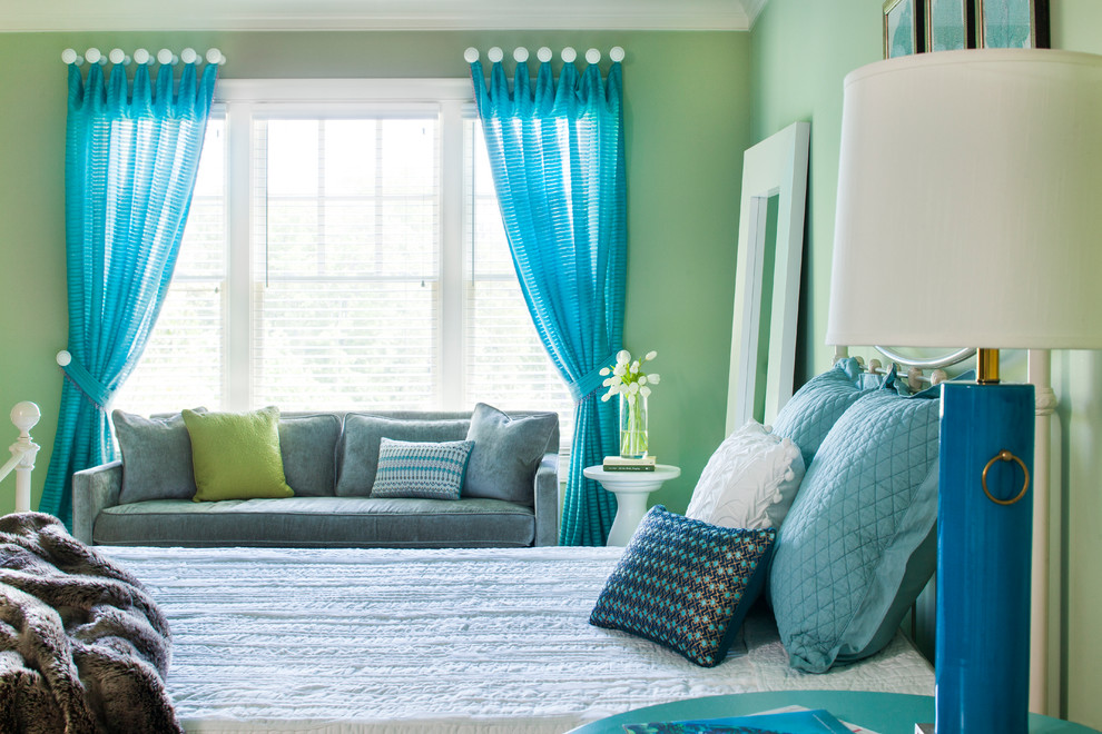 Large transitional bedroom photo in Atlanta with green walls