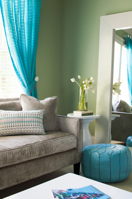 Example of a large transitional bedroom design in Atlanta with green walls