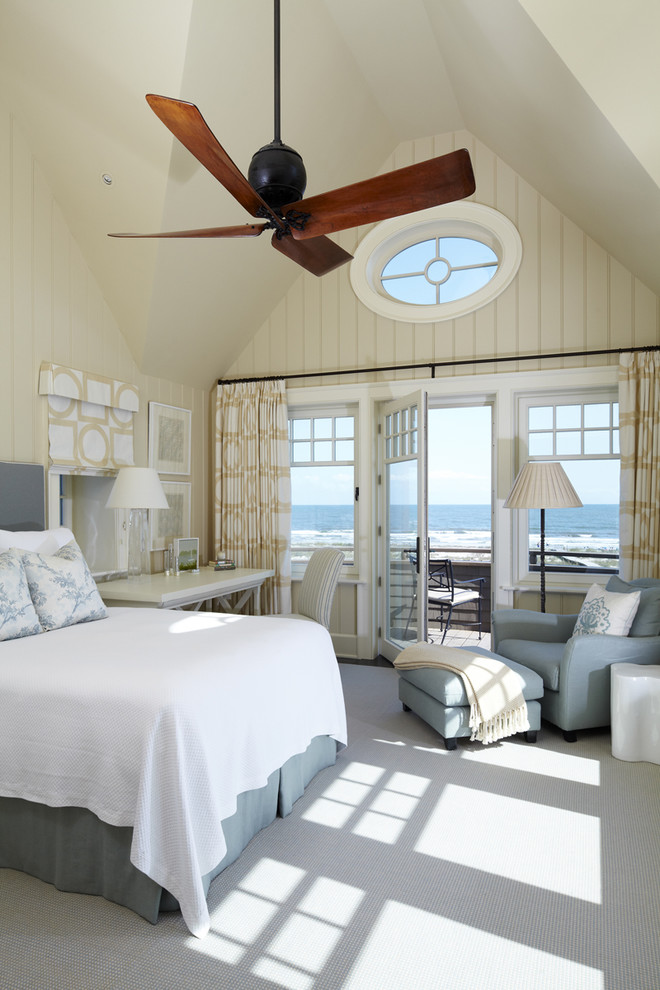 Inspiration for a coastal carpeted bedroom remodel in Charleston with beige walls