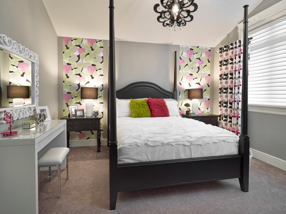 Bedroom - transitional bedroom idea in Edmonton with gray walls