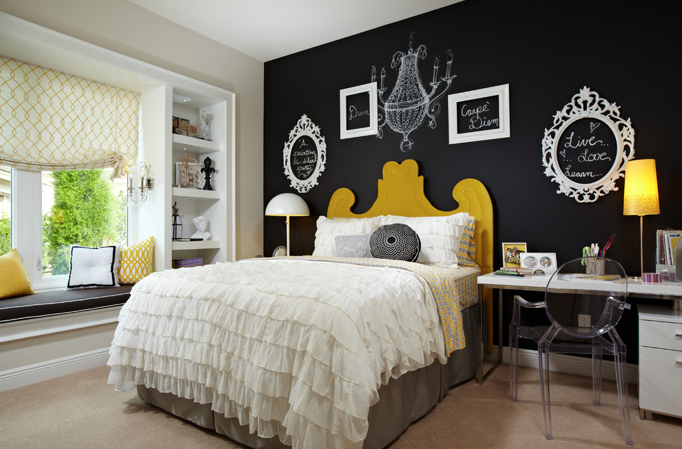 Mid-sized transitional carpeted bedroom photo in Tampa with black walls and no fireplace