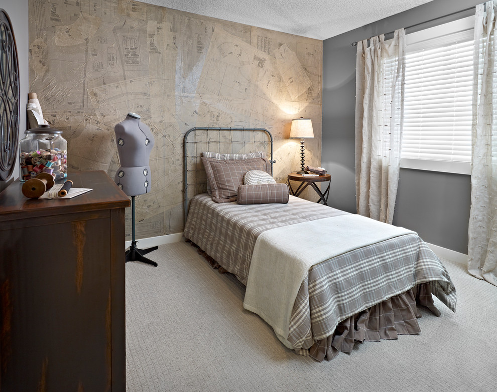 Inspiration for an eclectic carpeted bedroom remodel in Edmonton with gray walls