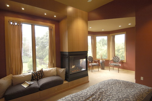 Finding a 3 sided wood burning fireplace for Three way fireplace