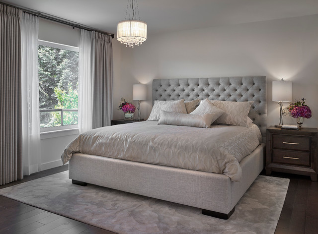 Example Of A Large Transitional Master Dark Wood Floor Bedroom Design In Edmonton With Gray Walls