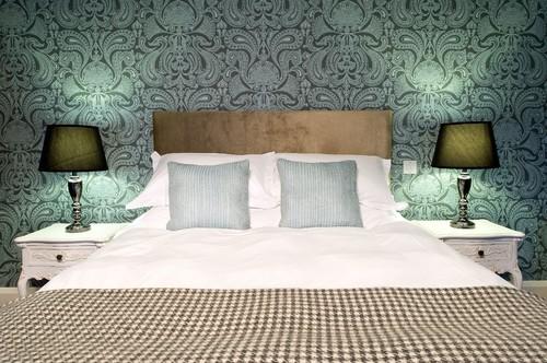 寝室の施工事例 グリーンの壁紙