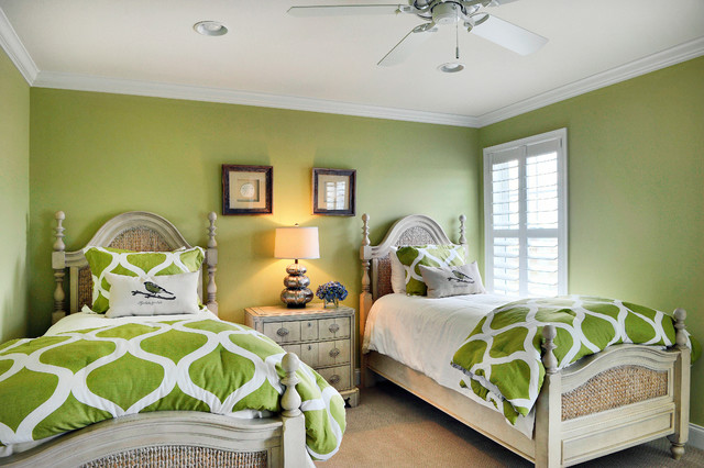 Example of a coastal bedroom design in Philadelphia with green walls. Two Beds   Houzz