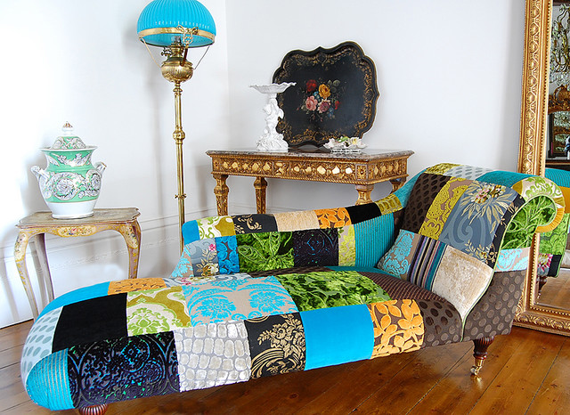The Limoges Patchwork chaise eclectic-bedroom