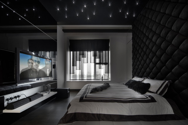Bedroom - contemporary bedroom idea in Singapore with black walls & The Metz - Contemporary - Bedroom - Singapore - by The Interior ...