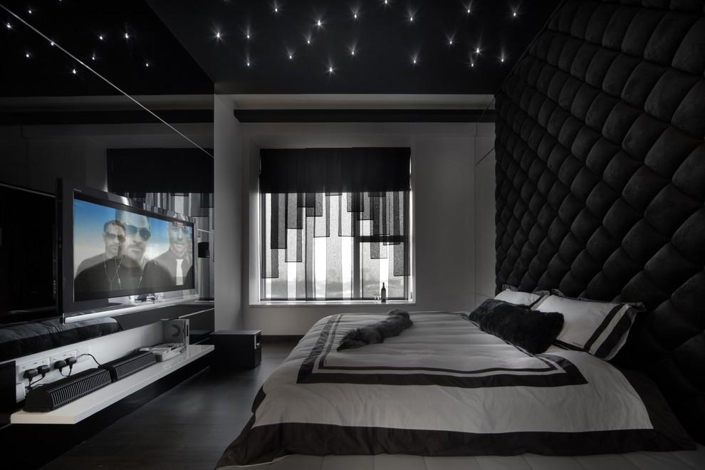 Bedroom - contemporary bedroom idea in Singapore with black walls