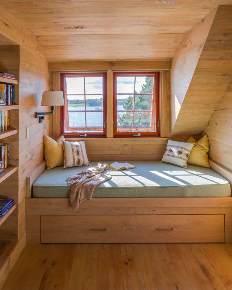 Bedroom - rustic medium tone wood floor bedroom idea in Boston with brown walls and no fireplace