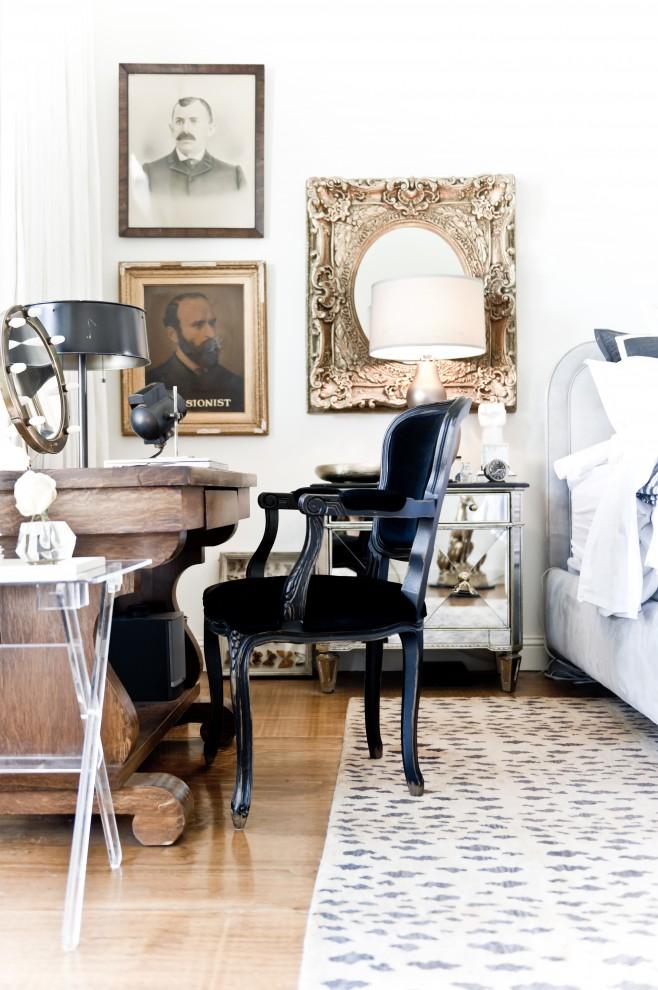Bedroom - victorian bedroom idea in Dallas with white walls